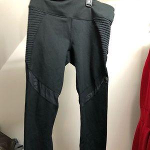 full length black leggings with mesh